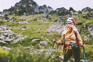 Woman adventurer hiking