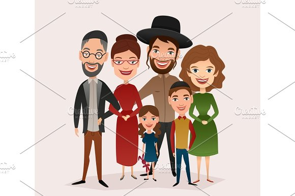 Big Happy Jewish Family Cartoon Concept