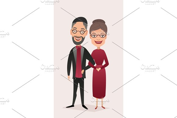 Happy Jewish Middle Aged Couple Isolated