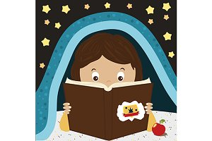 Reading kid. Vector illustration