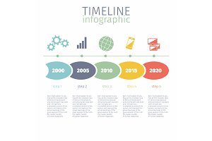 Set timeline infographic with