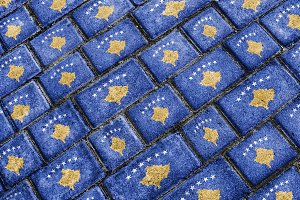 Kosovo Flag Urban Grunge Pattern