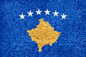 Kosovo Grunge Style National Flag