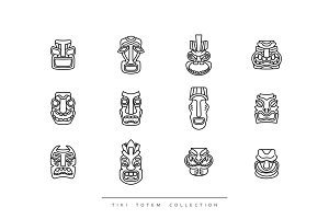 Collection Tiki Totem in linear style vector illustration