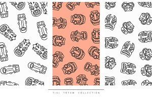 Pattern Tiki Totem in linear style vector illustration