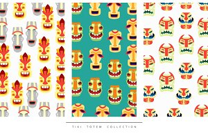 Pattern Tiki Totem in flat style vector illustration