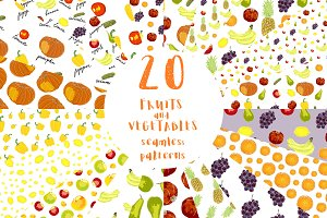 20 Fruits and vegetables patterns