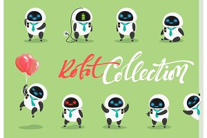 Set character robot. Characters cartoon in flat style with different tasks, gestures.