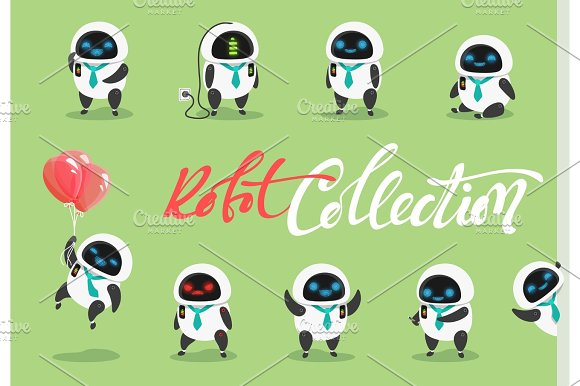 Set Character Robot Characters Cartoon In Flat Style With Different Tasks Gestures