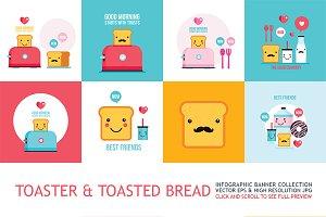 Cute toaster & toasted bread set