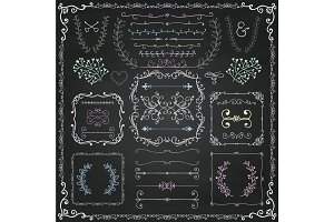 Chalk Drawing Decorative Doodle Design Elements