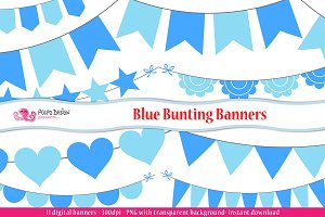 Blue Bunting Banners clipart
