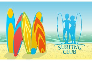 Surfing club design with surfboards