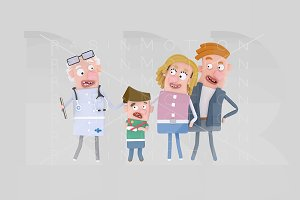Parents and son with doctor