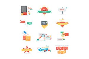 Stickers labels tags set
