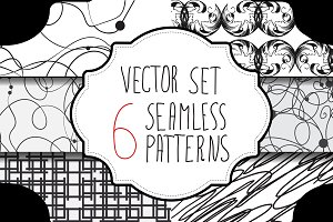 Monochrome seamless patterns set