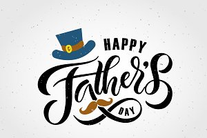 Happy Fathers Day Lettering Card