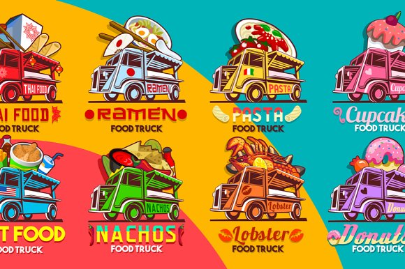 Food Truck Restaurant Logo Bundle
