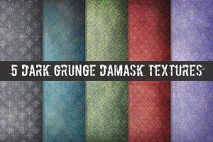 5 Dark Grunge Damask Textures