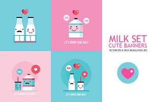 Delicious milk 4 cute banners
