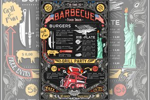Street Food Truck BBQ Vector Menu