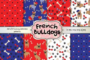 French Bulldog vector pattern set