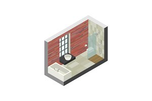 Bathroom in isometric view