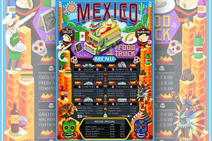 Mexican Food Taco Menu Vector Poster