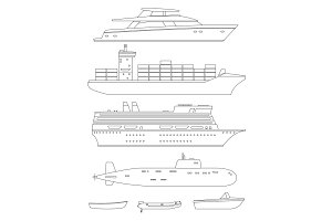 Ships and boats line drawings
