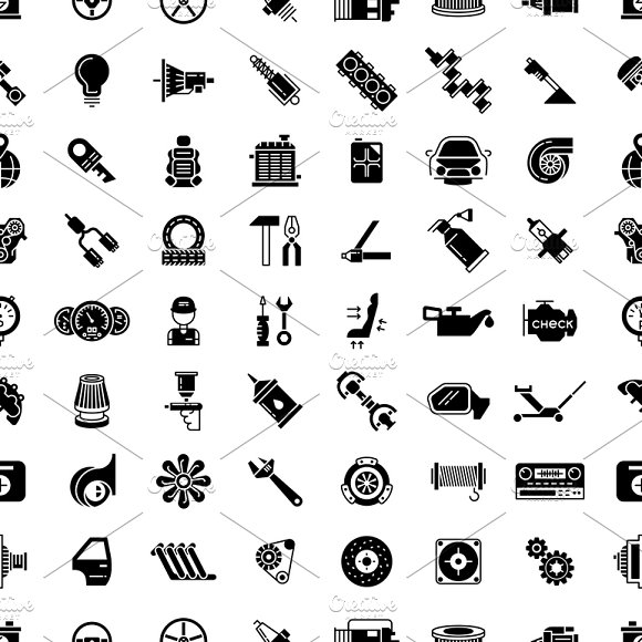 Car Spare Parts Seamless Pattern