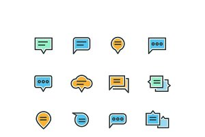 Speech bubble outline color icons