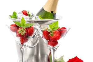Champagne strawberries red rose
