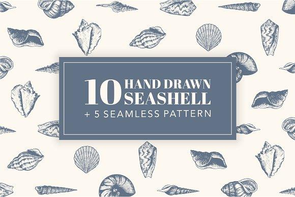 10 Hand Drawn Seashell 5 Patterns