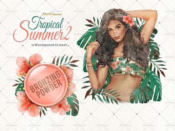 Tropical Summer 2 Clip Art Set in Illustrations - product preview 1
