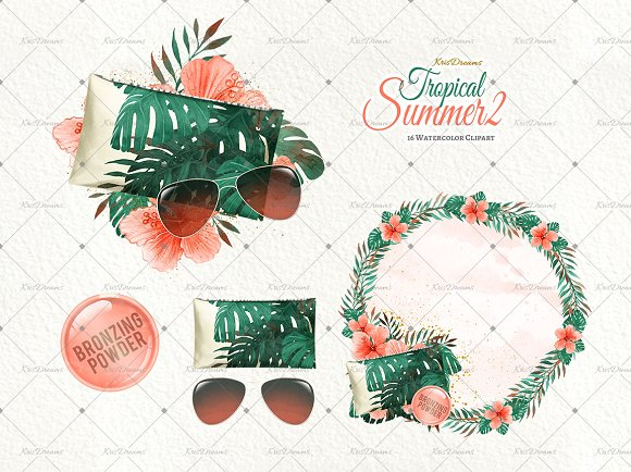 Tropical Summer 2 Clip Art Set in Illustrations - product preview 2