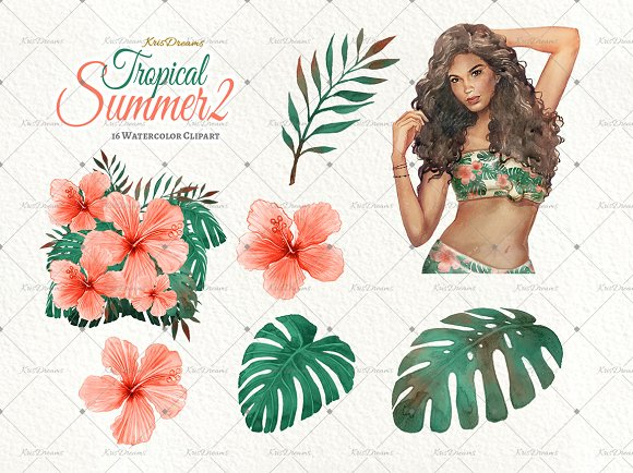 Tropical Summer 2 Clip Art Set in Illustrations - product preview 3