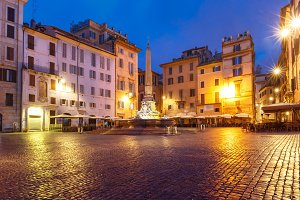 Piazza della Rotonda at night, Rome, Italy