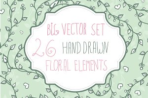 Big floral elements set