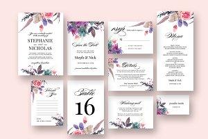 Watercolor Meadow Script Wedding