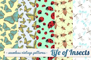 Seamless patterns with insects