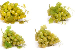 bunch of green grapes isolated on white background. Set or collection