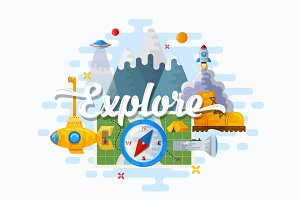 Explore! Flat Vector Illustration