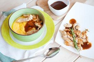 Pumpkin cream soup with chicken