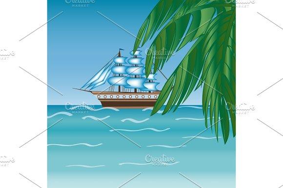 Three Masted Sailing Ship Frigate Transport