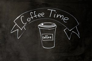 Coffee time lettering chalk on black school board background.