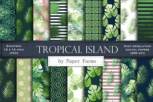 Tropical leaves digital paper