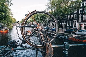 Amsterdam Through Bicycle Wheel