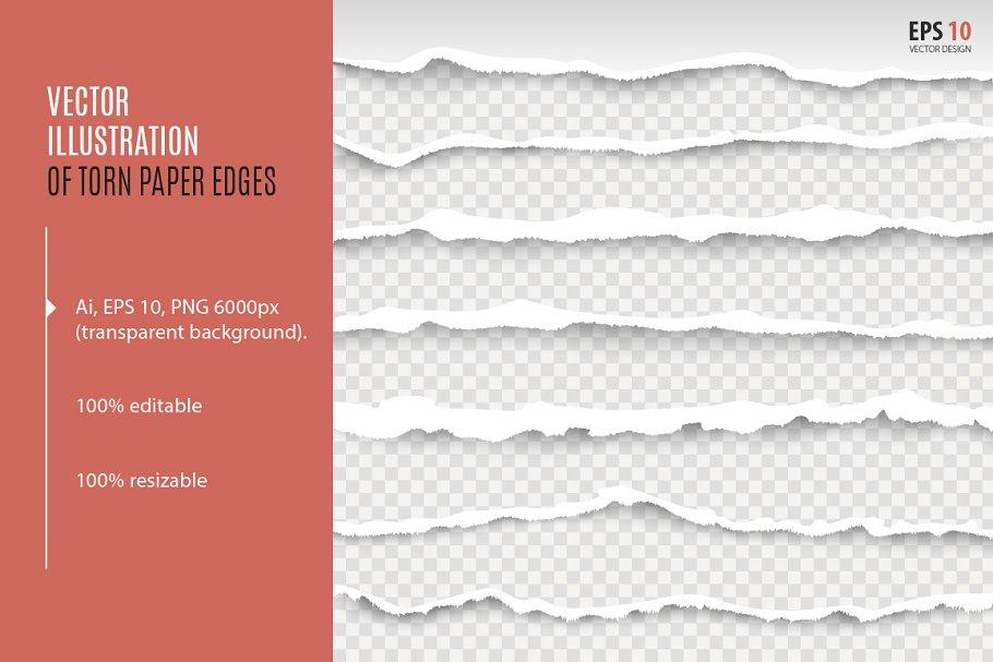 Torn paper edges, realistic vector
