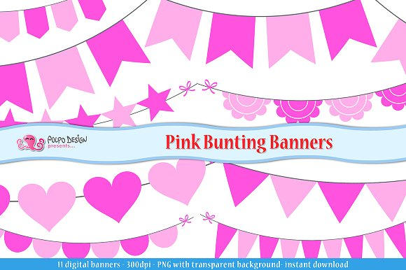Pink Bunting Banners Clipart