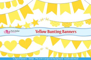 Yellow Bunting Banners clipart
